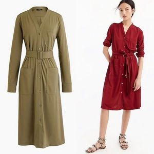 NWT J Crew Long Sleeve Belted Knit Dress Olive